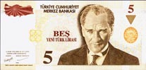 5 New Turkish Lira
